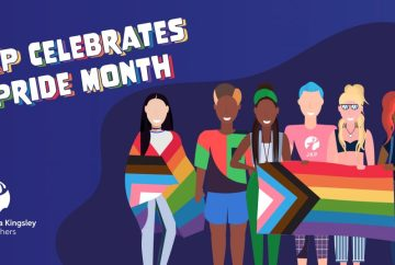 JKP Celebrates Pride Month: Cartoon People of various races and genders hold a rainbow flag